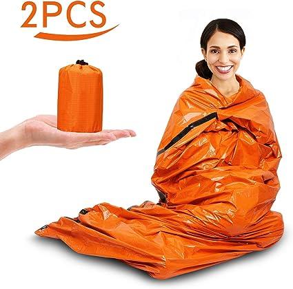 2x Couverture de Survie, Couverture de Survie Reutilisable Sac de Couchage de Survie Sac de Survie pour Le Camping en Plein Air et La Randonnée pour