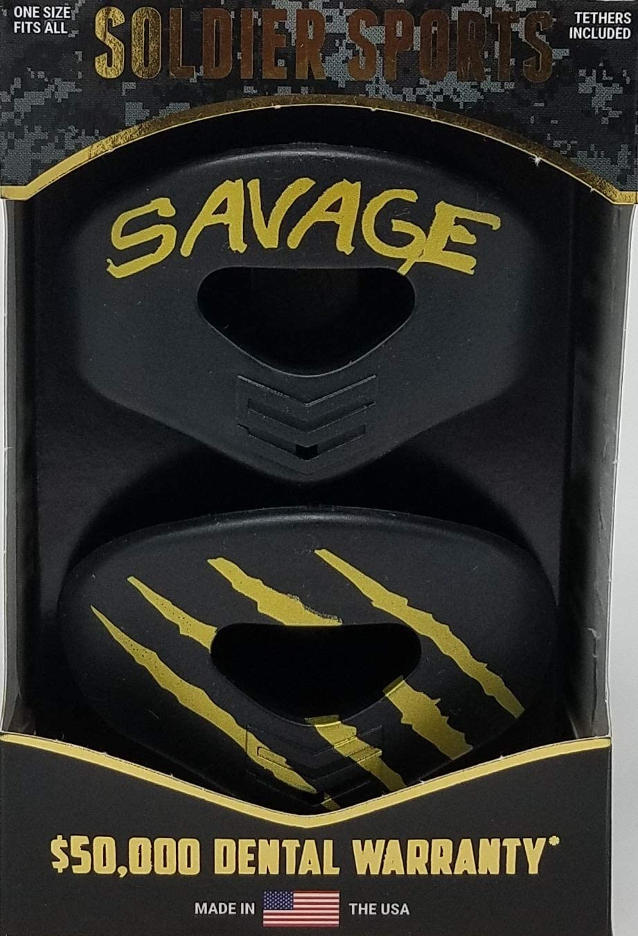 Soldier Sports New Black /& Gold Savage Elite Air Lip Protector Mouthguard 2-Pack