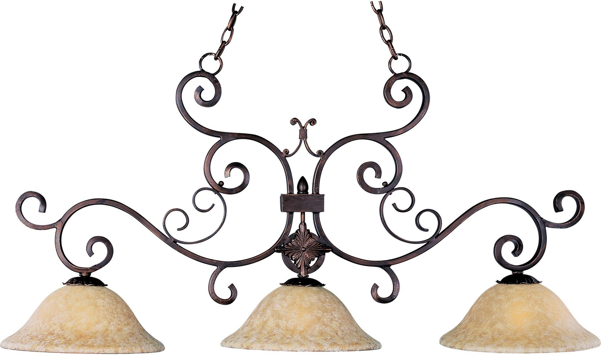 Maxim 20637VAOI Verona 3-Light Pendant, Oil Rubbed Bronze Finish, Vintage Amber Glass, MB Incandescent Bulb , 60W Max., Dry Safety Rating, Standard Dimmable, Glass Shade Material, 2688 Rated Lumens