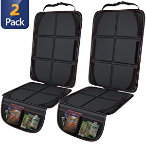 Gimars Thickest EPE Cushion Car Seat Protector Mat, XL Large Waterproof 600D Fabric Child Baby Seat Protector with Storage Pockets for SUV, Sedan, Truck, Leather and Fabric Car Seat, 2 Pack