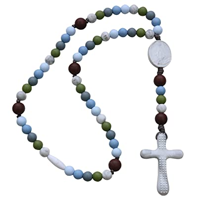 Chews Life - Teething Rosary Beads - Baptism Gift & Mass Toy for Catholic Girls & Boys, Handmade, Silicone Beads & Organic Cotton Cord - CPSIA Certified Safe | Versa L'Alto : Baby