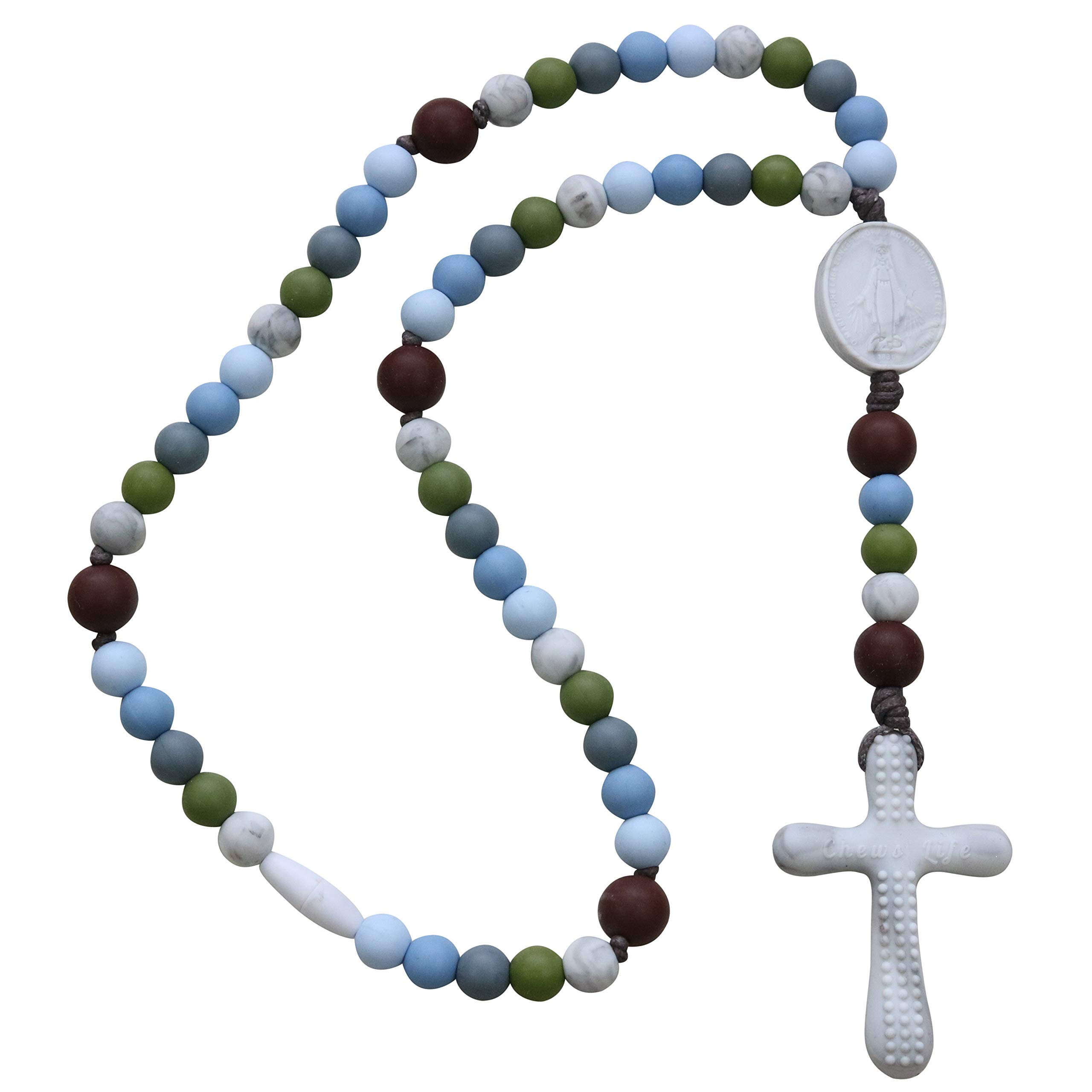 Chews Life - Teething Rosary Beads - Baptism Gift & Mass Toy for Catholic Girls & Boys, Handmade, Silicone Beads & Organic Cotton Cord - CPSIA Certified Safe | Versa L'Alto by Chews Life