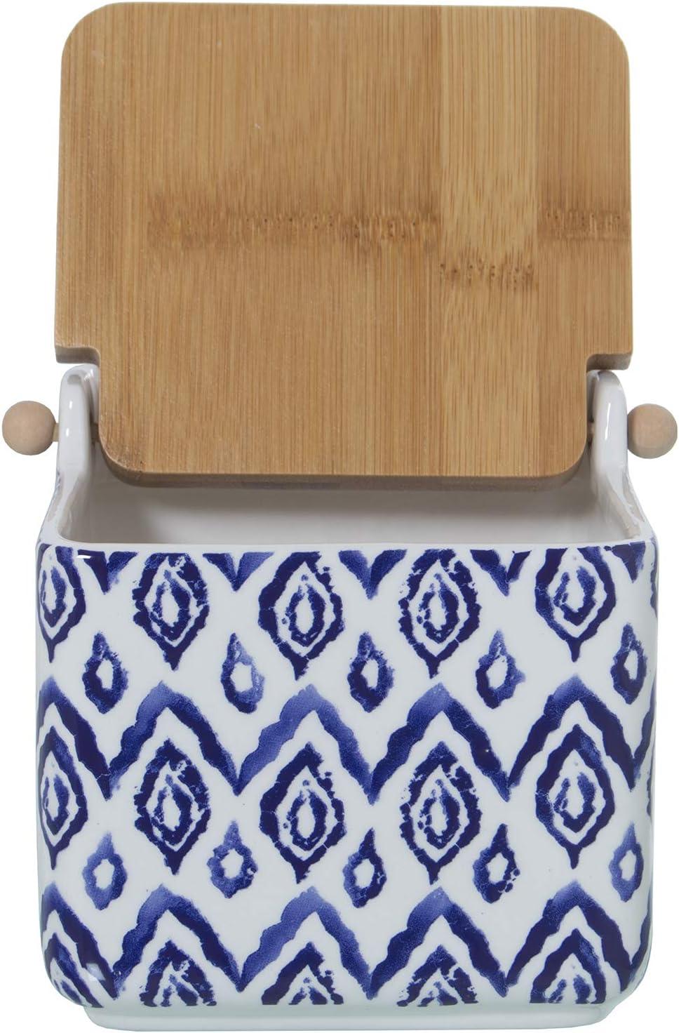 Azul DRW Salero Original cer/ámica Cuadrado con Tapa bamb/ú 12x12x12 cm