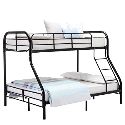 Mecor Twin Over Full Metal Bunk Bed Sturdy Metal Frame With Inclined Ladder High Safety Rails For Kids Adult Children Black