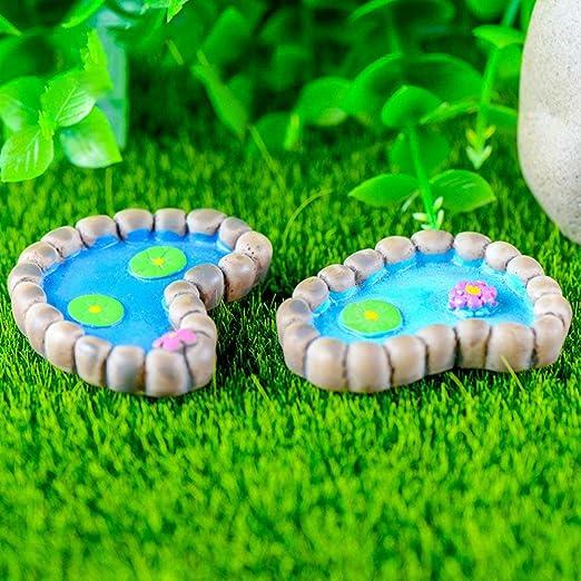 Ogquaton 2 Unids/Set Lotus Pond Miniatura Paisaje Adornos Jardín Bonsai Muñeca Decoración Durable y Práctica: Amazon.es: Hogar