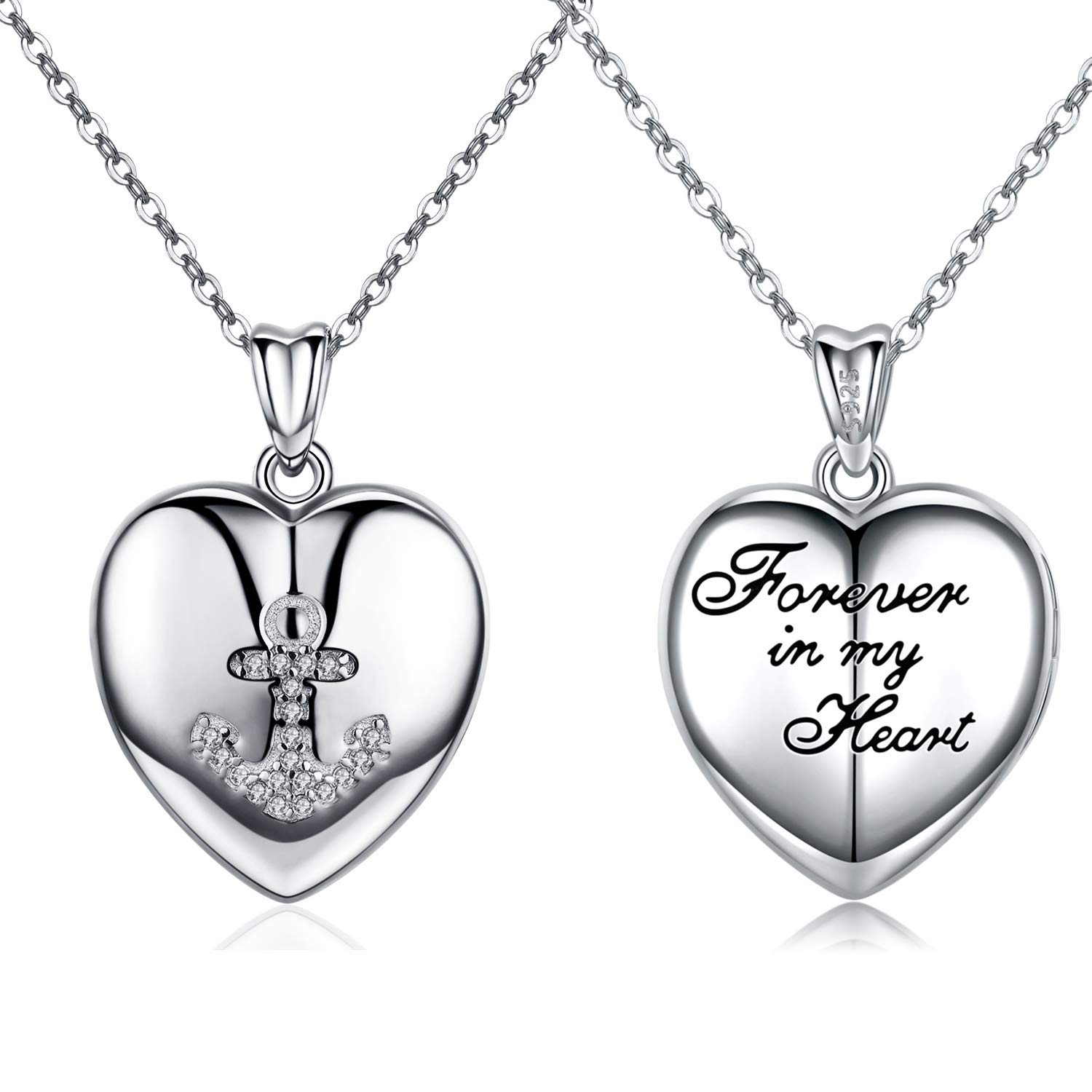 PRAYMOS Locket Necklace That Holds Pictures Sterling Silver Heart Locket Anchor Monogram Forever in My Heart Necklace with 18+2 Inches Silver Chain for Woman