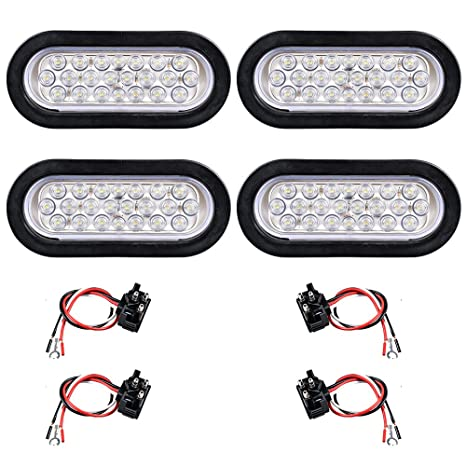 amazon com: 12v oval sealed led truck tractor trailer tail light + wiring  plug (pack of 4, white): automotive