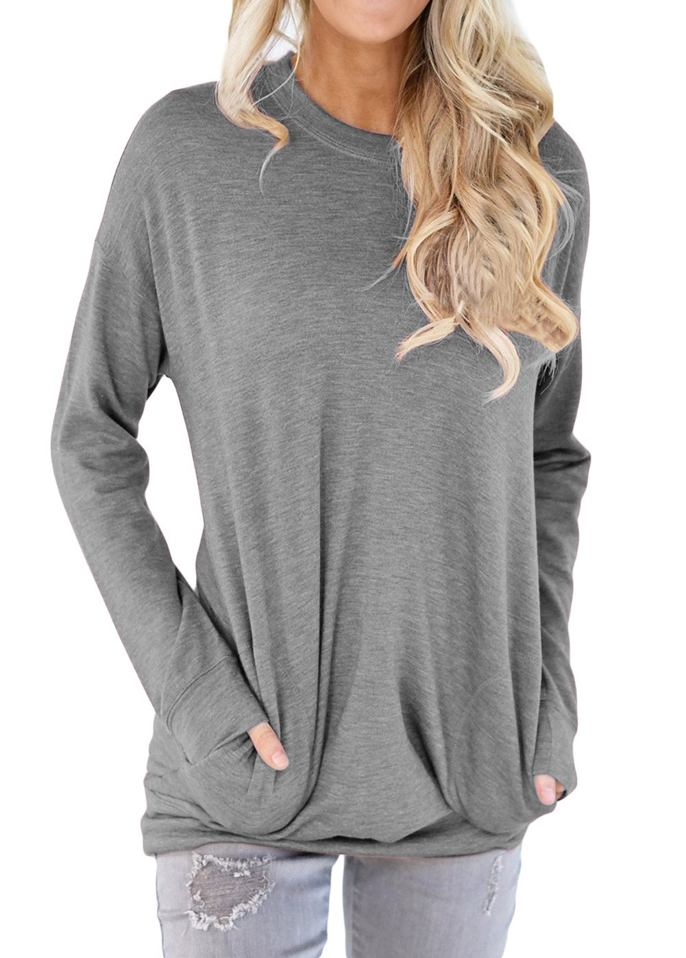 Shawhuwa Womens Long Sleeve Sweatshirt Loose T-Shirt Blouses Tops M Gray