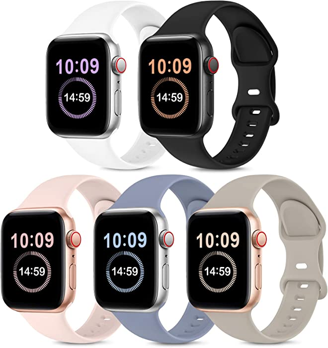 5 Pack Bands Compatible with Apple Watch Band 38mm 40mm, Soft Silicone Sport Replacement Strap Compatible with iWatch Series 6 5 4 3 2 1 SE Women Black/White/Stone/Pink Sand/Lavender Gray 38mm/40mmS/M