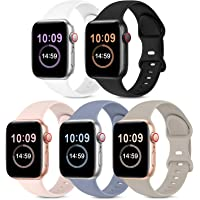 5 Pack Bands Compatible with Apple Watch Band 38mm 40mm 42mm 44mm, Soft Silicone Sport Replacement Strap Compatible with…