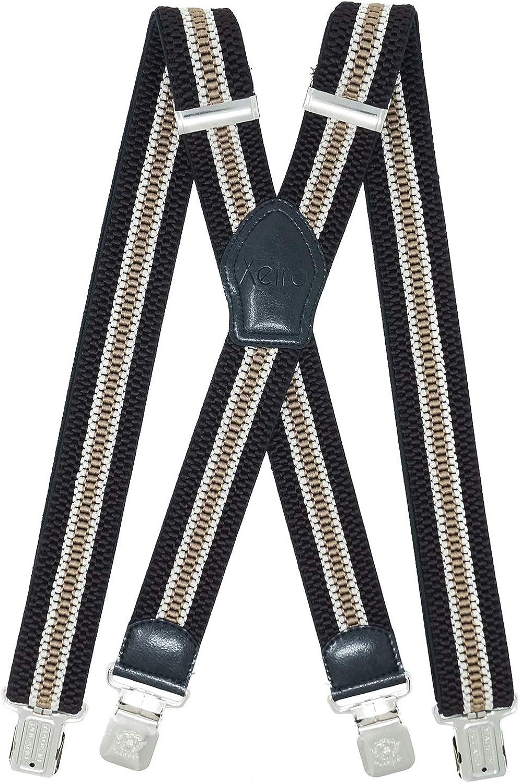 Xeira Extra Starke Hosentr/äger Uni /& Gestreiften Farben in X Form mit 4 XL Adler Clips