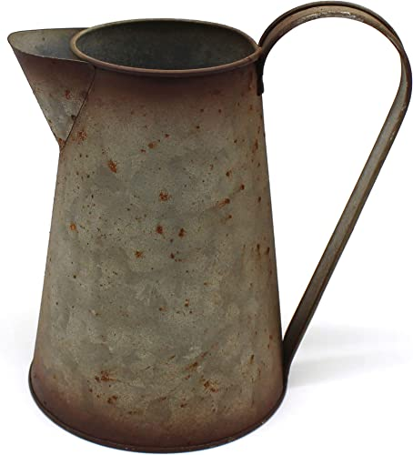 CVHOMEDECO. 7 Inch Galvanized Metal Milk Pitcher, Old Rustic Primitive Watering Can Jug Vase for Home and Garden D cor.