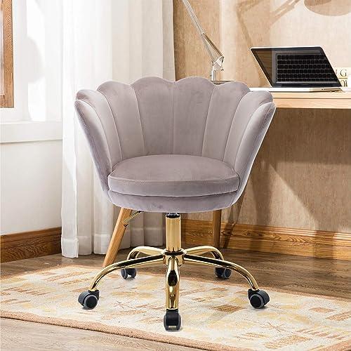 SSLine Velvet Desk Chair,Modern 360 Swivel Adjustable Upholstered Vanity Chair,Leisure Accent Chair Desk Chair