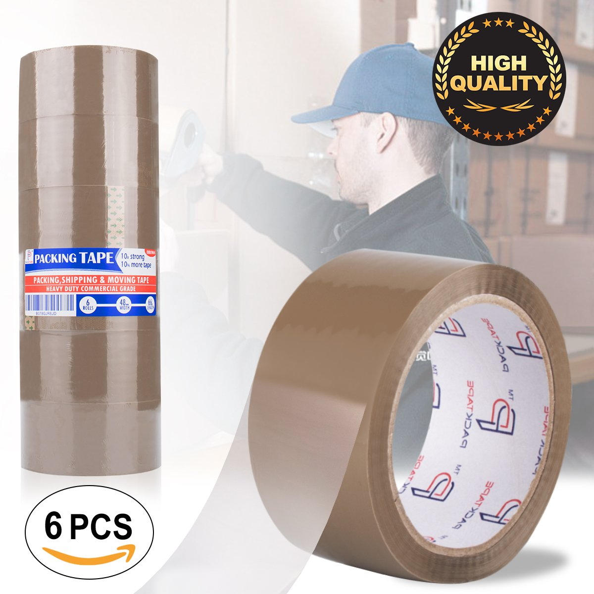 Shipping Tape,Packing Tape Browntape Heavy Duty Tape Packaging Tape Rolls for Shipping,Packaging,Moving,Office,Storage (Brown)