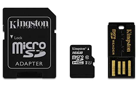 Kingston 16GB Multi Kit - Kit con Tarjeta microSD y adaptadores Clase 10, Negro