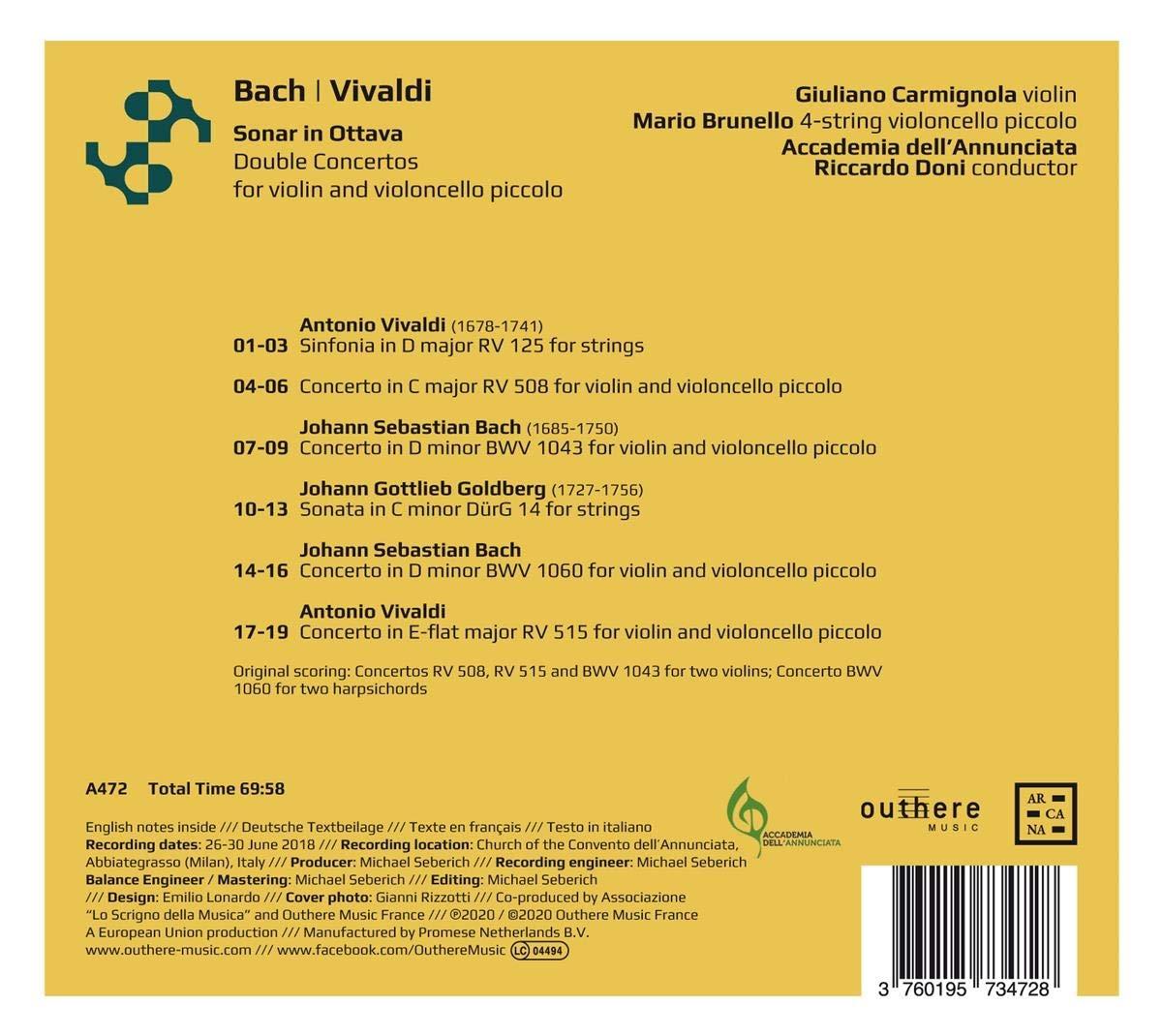 Doubles Concertos pour violon et violoncelle piccolo: Johann Sebastian Bach, Antonio Vivaldi: Amazon.es: Música