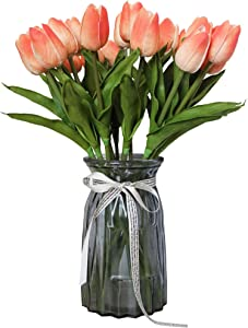 ALIERSA 10-Heads Artificial Flowers PU Mini Real Touch Tulip Bouquets (Gradient Coral)
