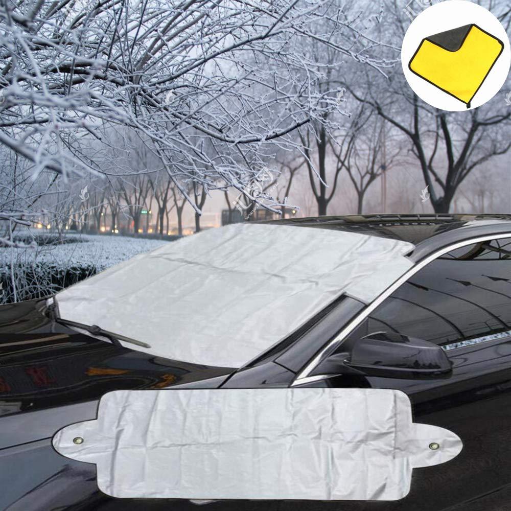 con Panno in Microfibra per Accessori per Auto in Tutte Le Condizioni atmosferiche Polvere e Sole Gelo Protezione antigelo per Parabrezza Auto 200 x 68,6 cm kungfu Mall per Neve