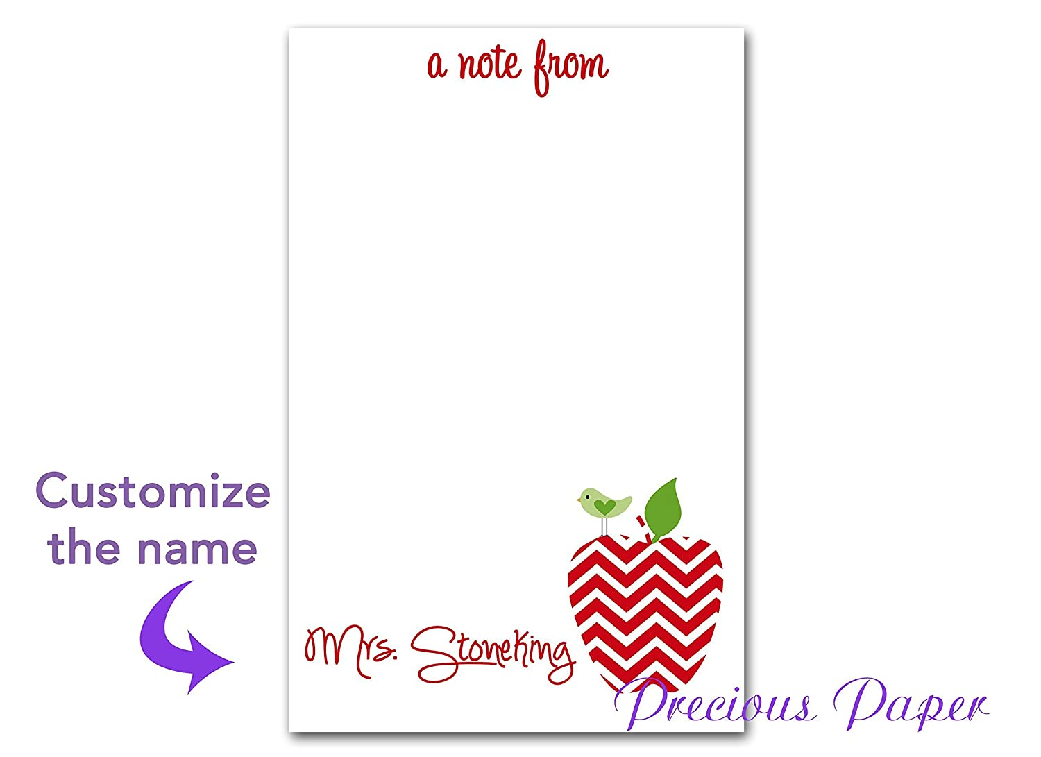 Personalized Teacher gift Personalized teacher red chevron apple notepad apple note pad