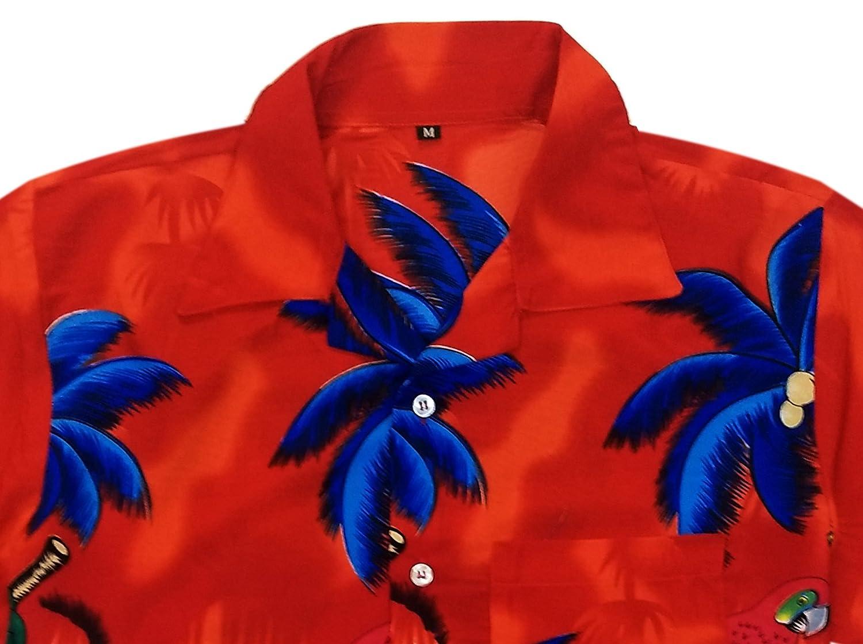 Mens Hawaiian Short Sleeves Shirt Parrot Floral Print Red Casual Holiday Shirts