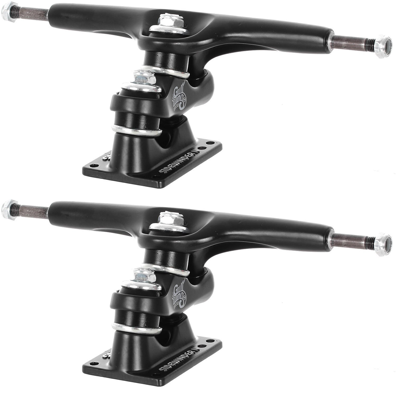 Gullwing Sidewinder II Longboard Trucks - Set of 2, 159mm Hanger/9'' Axle, Black