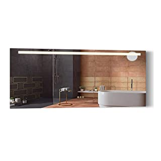 B&C 72x30 inch Super Slim Bathroom Mirror Horizontal | 1 Led Strips| Polished Edge &Frameless | Defogger & Dimmer|Touch Switch|Copper Free Silver Backed