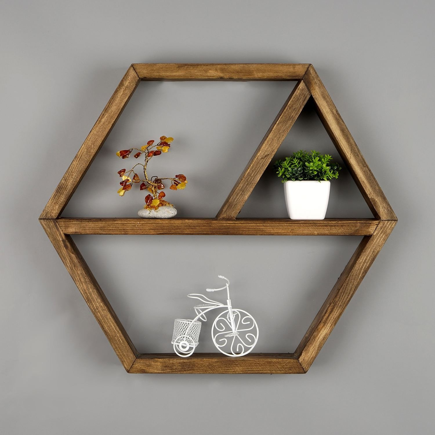 Wooden Hexagon Geometrical Shapes Wall Shelf, 100% Melamine Coated Particle Board - Size (15.7'' x 13.8'' x 2.4''), Easy to Hang with Invisible Brackets, Wall Mounted Floating Shelves for Home & Office