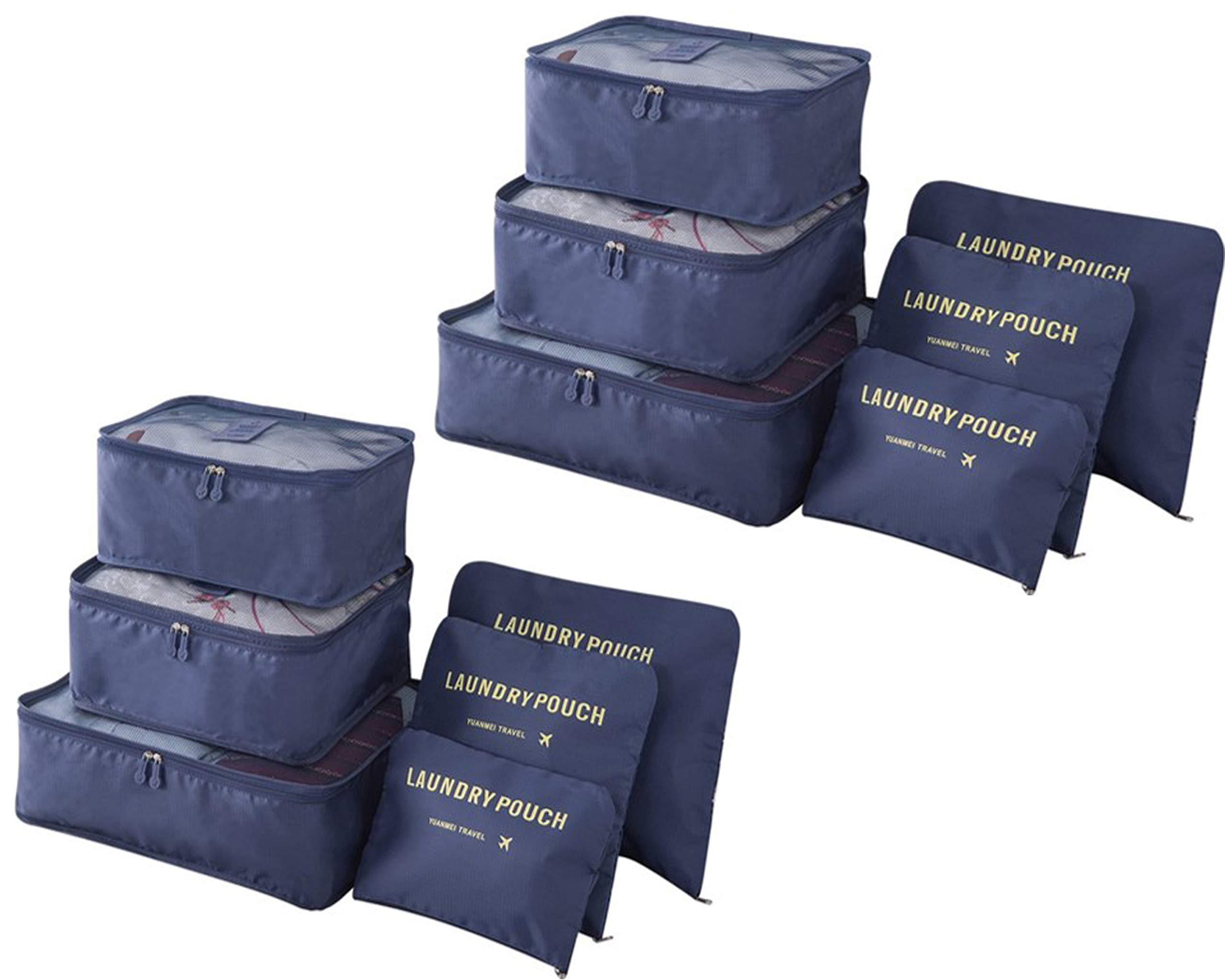 Packing Cubes (2 Sets /12 Pieces) Luggage Organizers/Laundry Bags JuneBugz Travel Accessory for Suitcases,Carry-on,BackPacks-Organize Toiletries/Clothing/Medicine/Shoes/Passport/Document(Navy/Navy) by JuneBugz Enterprises (Image #1)