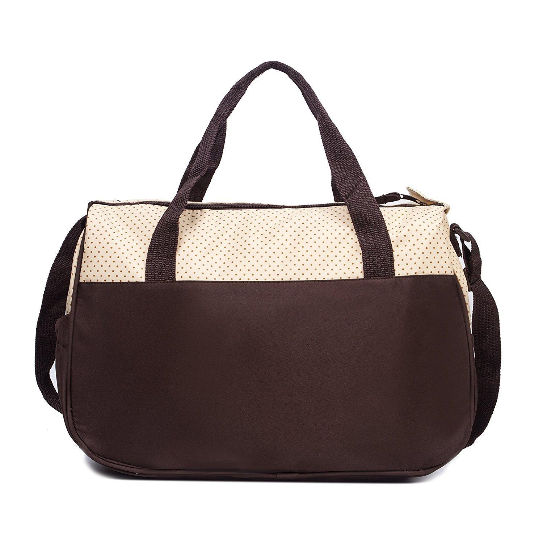 5pcs/set Nappy Baby Diaper Bag Travel Diaper Tote Bag Handbag Diaper Bag for Mummy and Dad (Coffee)