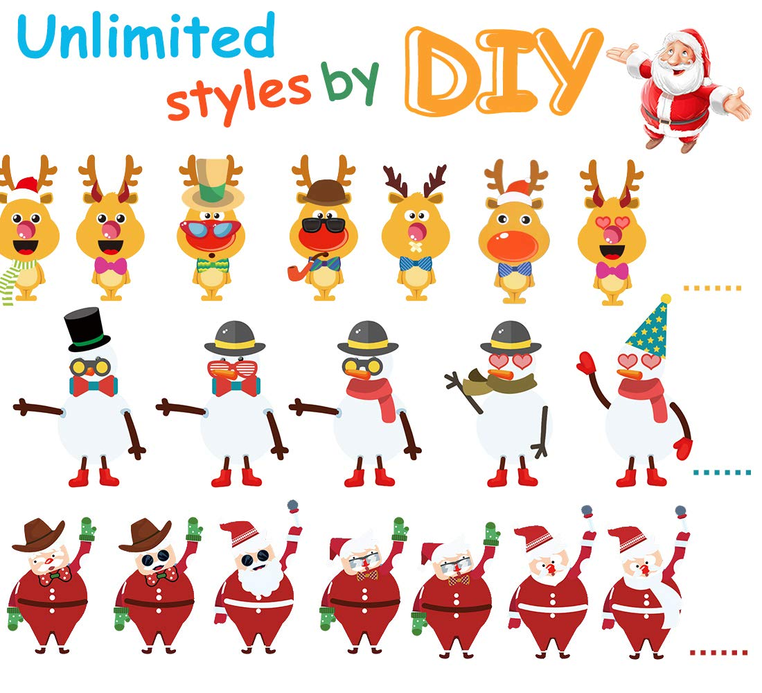 AOLIGE 24Pcs DIY Crafts Stickers for Kids Make a Santa Snowman Reindeer Stickers Party Favors Games for Children
