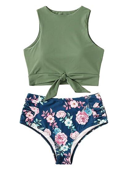 67be5acc95a SweatyRocks Women's Sexy High Waisted Bikini Swimsuit Knot Hem Top Floral  Print Two Pieces Tankini Set