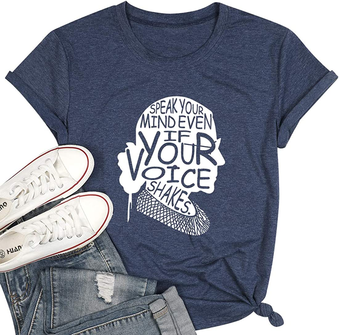 FASHGL Ruth Bader Ginsburg T-Shirt Women Speak Your Mind Tee Feminism T Shirt Female Freedom Tee Shirt Notorious RBG Tshirt