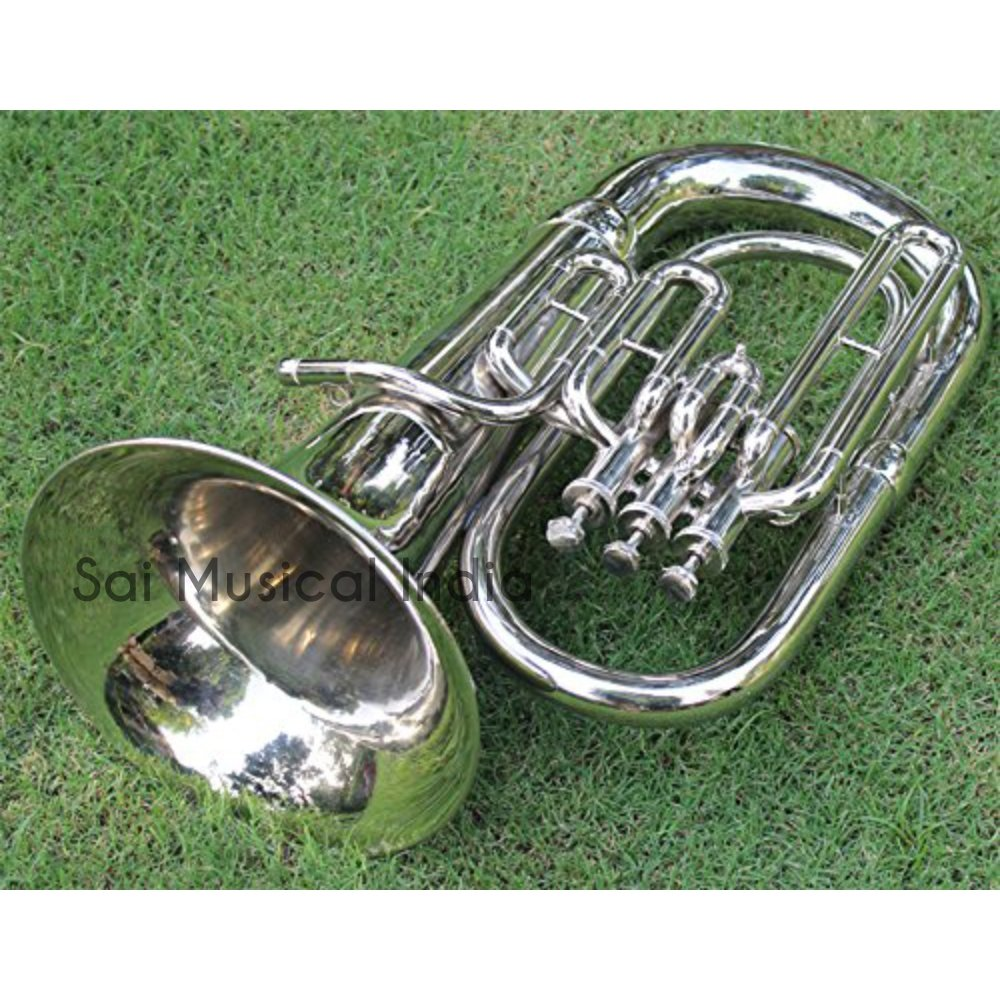 Queen Brass Euphonium Silver Chrome Nickle Polish Pure Made of Pure Brass 4 Valve Euphonium Bb Pitch With Free Case Box & Mouth Pc. by Queen Brass