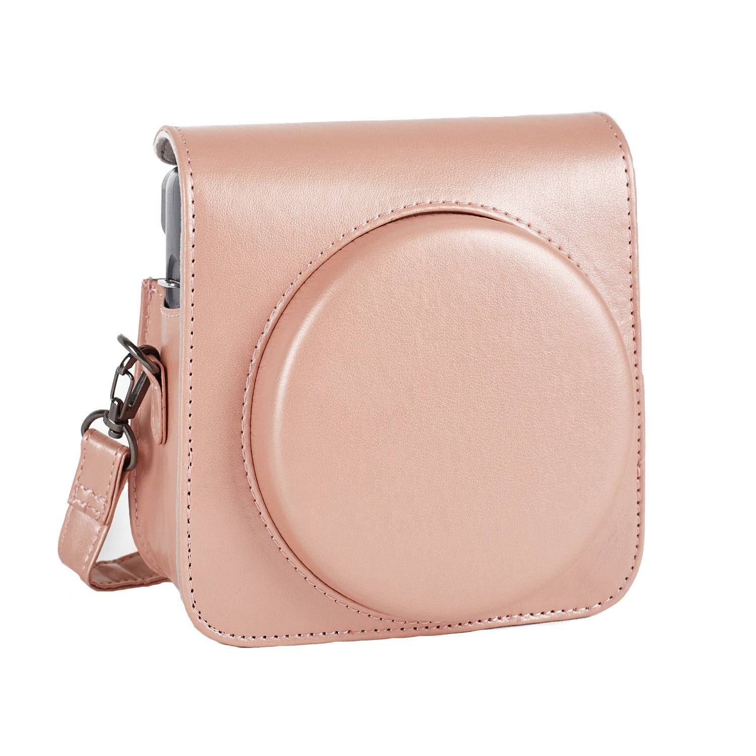 Phetium Protective Case for Fujifilm Instax Square SQ6 Instant Film Camera, Soft PU Leather Bag with Adjustable Shoulder Strap (Blush Gold)