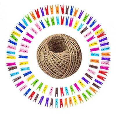 Twine Mini Wooden Clothespins for Photos Color 100 Bulk Small Natural Traditional Craft Clothes pins with Twine String Gardening 100 Feet 1.8mm for Pictures Hanging Art Craft Photo Display : Office Products [5Bkhe1502974]