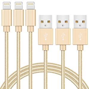 iPhone Charger Cable 3 Pack 6ft MFi Certified Lightning to USB Cable Nylon Braided Fast Charging Syncing Cord Compatible with iPhone 12 SE 11 Pro X Xs Max XR 8 7 6 Plus iPad AirPods Pro (Gold)
