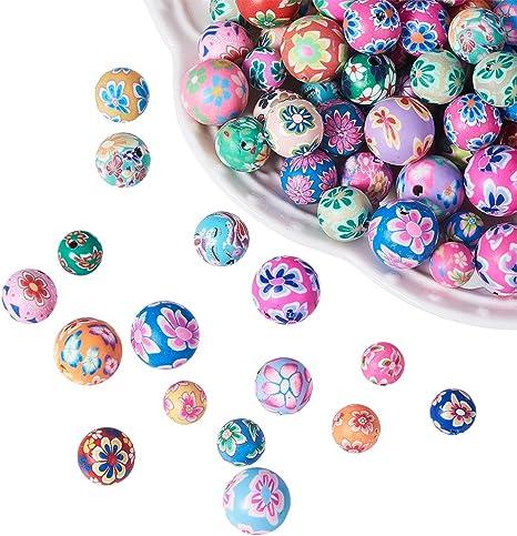 Harilla 50Pcs Colori Assortiti Perline di Argilla Polimerica Rotonde Modello Friut DIY 10mm