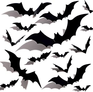 Halloween 3D Bats Decoration Plastic Bat Wall Stickers for Home Window Decor Party Supplies (60PCS)