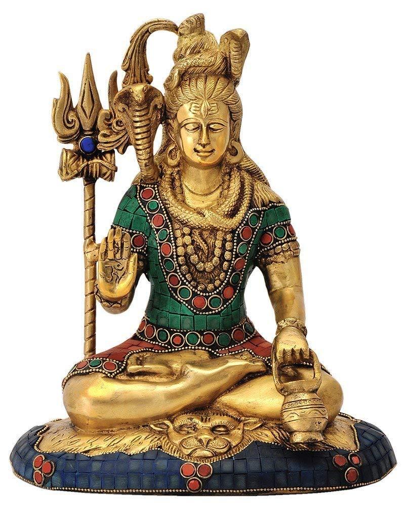 Fasherati India Lord Shiva Idol Brass Statue Handmade Metal Sculpture Home Decoration Pooja Idol Gift Shiva Idol// Shiva Brass Statue// Shiva Brass Idol// Home Decor// Bolenath Statue// Sankar Idol