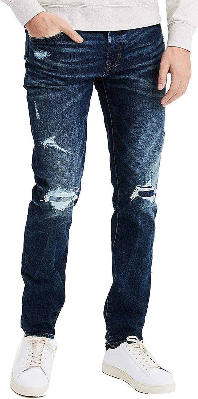 American Eagle Mens 4823958 Ne(X) t Level Airflex Slim Jean, Destroyed Dark Wash (30x34)