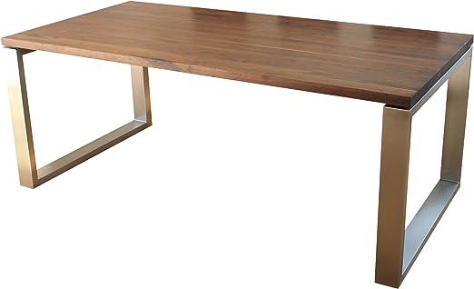 VEIKIN DESIGN Esstisch Buche massiv London 140 x 80 cm, Designer Tisch Massivholz mit Edelstahl, Holztisch Metall Stahl, Tisch Holz, Premium