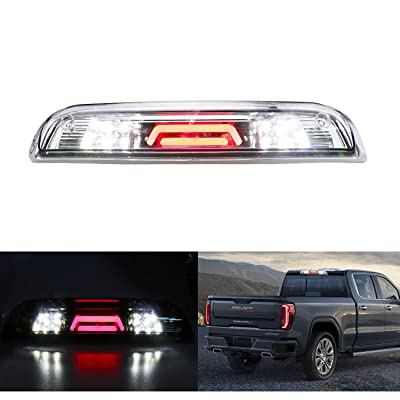 Replacement for 14-18 GMC Sierra/Chevy Silverado 1500, 15-18 GMC Sierra/Chevy Silverado 2500HD 3500HD Rear Roof Center LED Third Brake Cargo Light Assembly High Mount Brake Tail Light (Chrome+Smoke): Automotive
