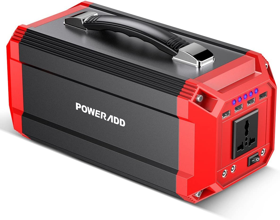 POWERADD PowerCenter II Power Station Portable Solar Generator, 270Wh Emergency Backup Lithium Battery, 300W Power Source with AC DC 4 x USB Outputs for Outdoors Camping Travel Fishing Hunting