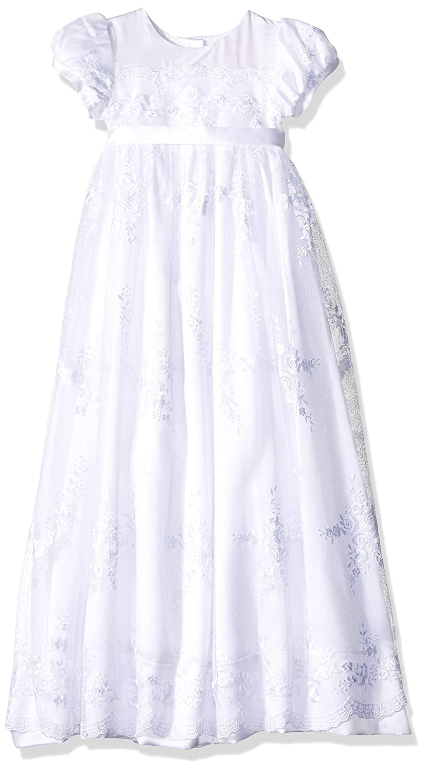 NIMBLE Baby Girls Newborn Christening Embroidered Gown Dress Outfit with Headband,0-15M