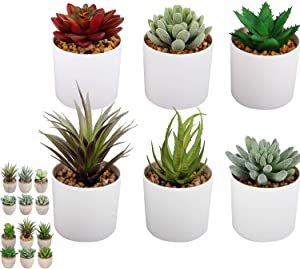 C APPOK Succulents Plants Artificial Faux Succulent Fake Potted Plants - 6 Pack Large Flocking Succulents Decorative Plant with White Pot for Wedding Gift, Home, Desk Decor, Office Decoration
