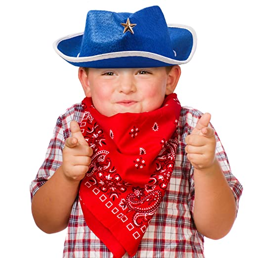 ae0a8551 Amazon.com: Funny Party Hats Sheriff Cowboy Hat - Cowboy Hat and Bandana - Cowboy  Costumes - Western Costumes for Kids: Toys & Games