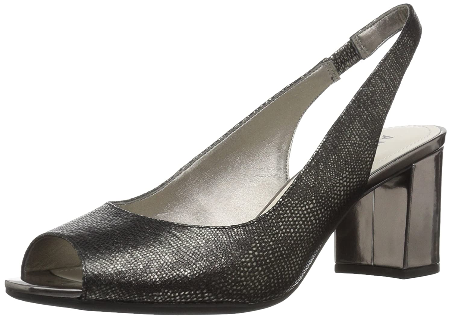 Anne Klein Women's Maurise Peep Toe Sling-Back Pump B0059485KY 6 B(M) US|Pewter Reptile