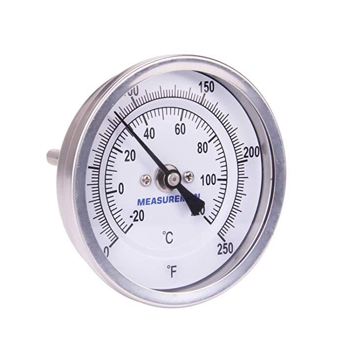 "Measureman Fully Stainless Steel Pot, Kettle, Brewing Bimetal Thermometer, 3"" Dial, 2-1/2"" Stem, 0-250 deg F/-20-120 deg C, -1% Accuracy, Adjustable, 1/2"" NPT Back Mount"