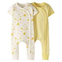 Baby Boys' and Girls' 2-Pack One-Piece Organic Cotton Short Sleeve Romper