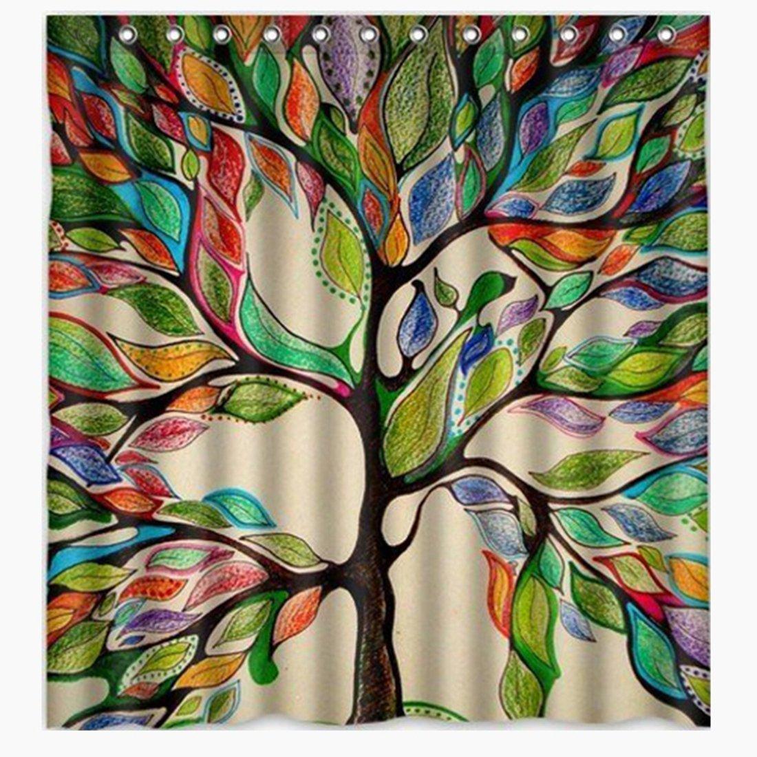 Bath Shower Curtain-Colorful Tree of Life Gorgeous Like Feather Bathroom Shower Curtain - Custom Polyester Fabric kids Decorative Curtain Ideas (72''W x 72''H) (72''W x 72''H, Colorful Tree of Life)